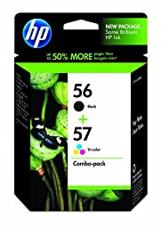 HP 56 Black & 57 Tri-color Original Ink Cartridges, 2 pack (C9321FN)