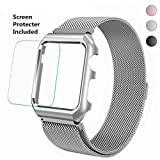 Apple Watch Band 42mm Corelink Stainless Steel Milanese Mesh Loop Magnetic Wrist Band with Metal Case Cover and Screen Protector for iWatch Series 3/2/1 Sport Edition (Silver, 42mm)