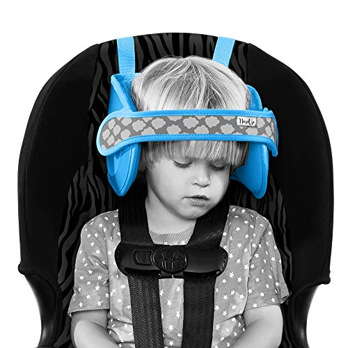 NapUp Child Car Seat Head Support - A Comfortable Safe Sleep Solution (Blue).