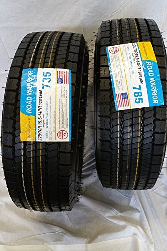 (6-TIRES) 225/70R19.5 H/16 NEW ROAD WARRIOR 2 STEER and 4 DRIVE TIRES 14 PLY 22570195