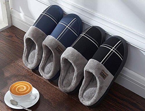 W&XY Zapatillas de casa de invierno para hombres artificiales con suela engrosada antideslizante impermeable 43