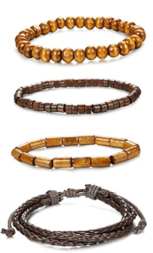 (ORAZIO 4Pcs Wooden Beaded Bracelet Leather Braided Bangle for Men and Women Elastic 5-8MM Beads )