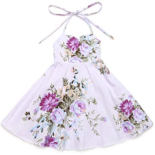 Flofallzique Easter Girls Dress Summer Vintage Floral Princess Dress for 1-12 Y(8, Purple)]()