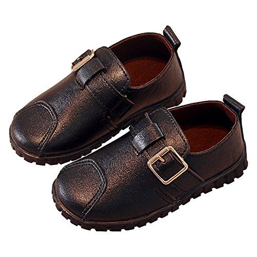 LINKEY Toddler Boys Buckle Strap Oxford Flat School Uniform PU Leather Dress Shoe Black Size 27