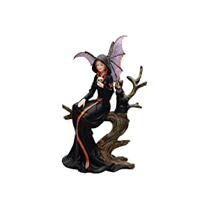 Comfy Hour Resin Fairy Witch with Skull and Black Cat Sitting On Withered Tree Crafted Figurine