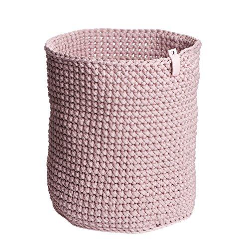 """Pink Rope Crochet Storage Basket H 14.7"""" W 11.8"""" Cylinder Basket Toy Basket Plant Basket Laundry Basket Nursery Storage Bathroom Storage Housewarming Gift Home Decoration"""