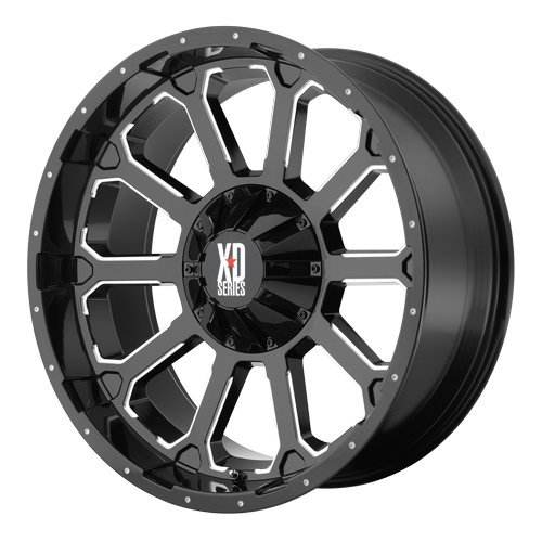 XD Series by KMC Wheels XD806 Bomb Gloss Black Wheel With Milled Accents (18x9
