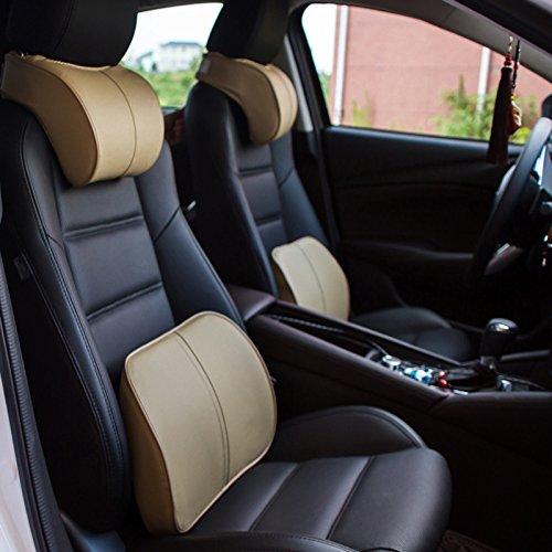 Auto asiento de coche reposacabezas Head Almohada Cuello Resto espalda Lumbar Cojín de apoyo lenta rebote springback Memory...