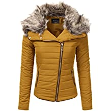 JJ Perfection Women's Zip Up Quilted Fur Trimmed Hood Padding Jacket