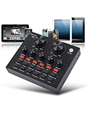 External Sound Card, USB V8 Live External Sound Mixer Board, Voice Changer Sound Card with Multiple Sound Effects for Live Recording Home KTV Voice Chat