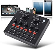 Live Sound Card, Mini Sound Mixer Board for Live Streaming, Voice Changer Sound Card with Multiple Sound Effec