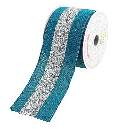 (Homeford FCR000CGC2102TLS Glitter Center Canvas Ribbon, 2-1/2-Inch, Teal/Silver)