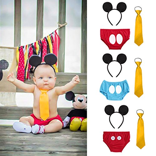 Cake Smash Outfit Baby Boys 1st Birthday Party Diaper Cover+ Necktie+ Mickey Ears Headband Photo Shoot Costume 3Pcs Set