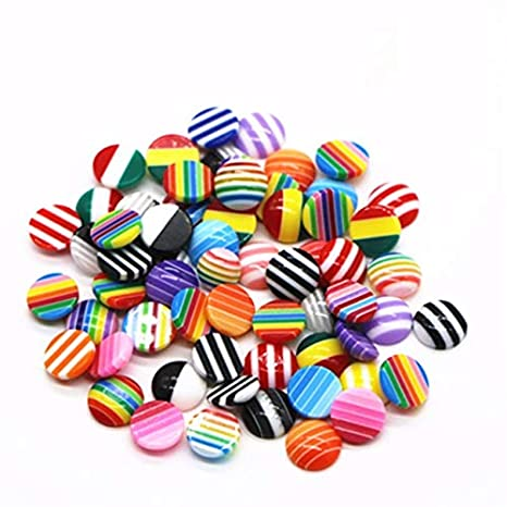 100pcs//Lot 8mm Mix Colors Flat back Resin Classic Stripes Cabochons Fit 8mm Cameo Base Cabochons For diy jewelry finding Laliva Accessories Color: RF002, Size: 8mm