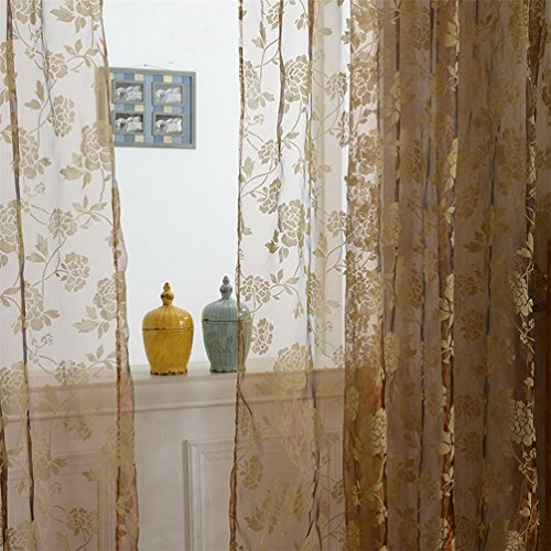 Haotfire Flower Damask Style Fashion Design Print Thermal Insulated Blackout Curtain With Grommet Top For (Curtains Drapes Styles)