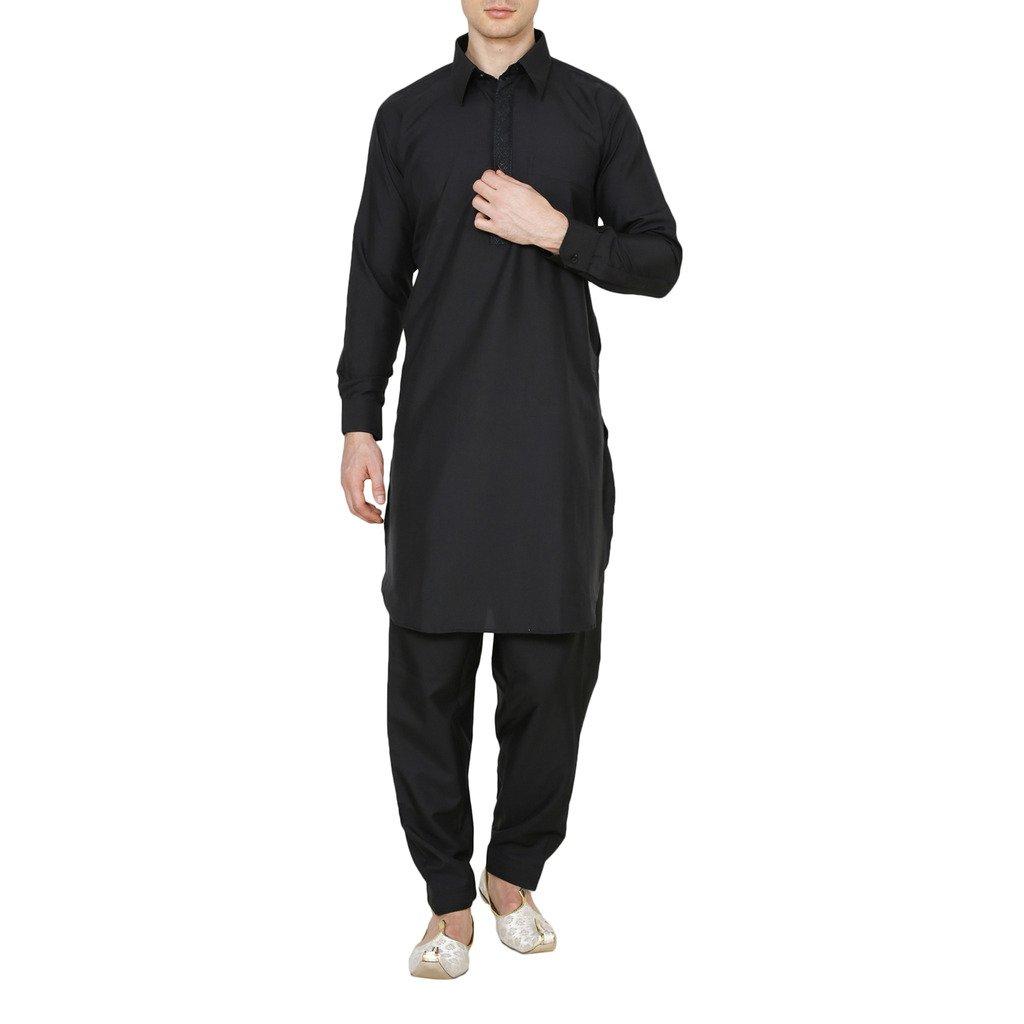 XX-Large, Black Royal Kurta Royal Mens Neck Thread Embroidered Pathani Suit