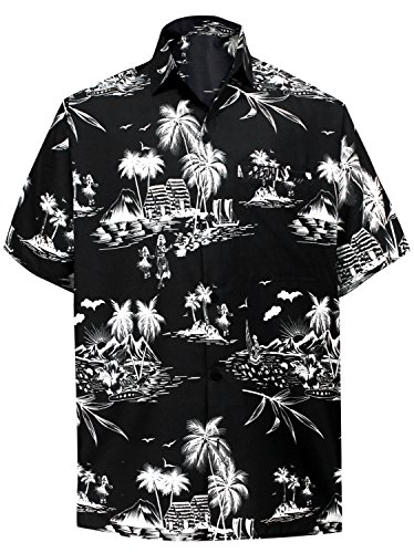 LA LEELA Likre Beach Point Collar Shirt Black 517 Medium | Chest 40