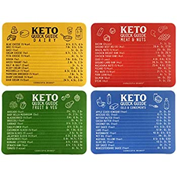 Amazon.com: Keto Cheat Sheet Magnets (Set of 4); Quick Guide Fridge Magnet Reference Charts for ...
