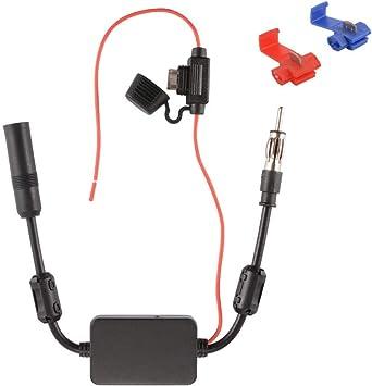 Amplificador de Señal Amperio de Antena Am FM para Automóvil Adaptador DIN para Dab Radio Todo de Coche