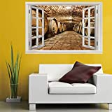 3D Mural Fake Window Wall Sticker Wine Cellar(60X90CM)Art Poster Wallpaper Murals for Sofa Living Room Bedroom Home Decoration