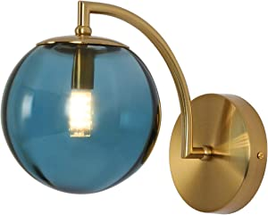 Modern Wall Sconce Mid Century Style with Glass Shade G9 Brass Finish Home Decor Wall Light Blue