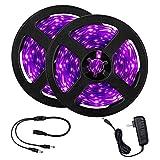 33ft LED UV Black Light Strip Kit, 600 Units UV Lamp Beads, 12V Flexible Black light Fixtures, 10m LED Ribbon, Non-Waterproof for Indoor Fluorescent Dance Party, Stage Lighting, Body Paint,UV Lighting