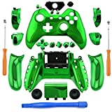 eLUUGIE Replacement Green Chome Controller Full Housing Shell Set Faceplates for Xbox One Controller with 3.5 mm Jack Xbox One Controller Full Housing Shell Kit Xbox One Chrome Controller Buttons For Sale
