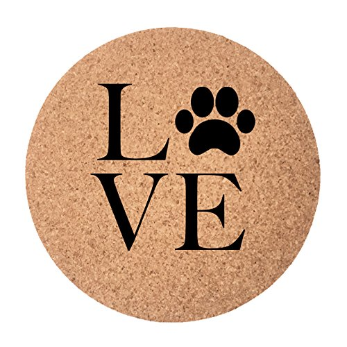 MySohoHome I Love Dogs Coasters - Set of 4 Coasters - Absorbent Cork Coasters, Best Drink Coaster For Drinks In Home & Office - Perfect ()