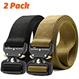 Fairwin Tactical Belt-1.7 Inch Web Nylon Tactical Belts for Men-Carry Tool Belt (Black+Brown, Waist 30'-36')