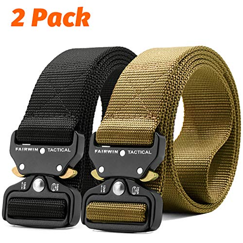 Fairwin Tactical Belt-1.7 Inch Web Nylon Tactical Belts for Men-Carry Tool Belt (Black+Brown, Waist 30