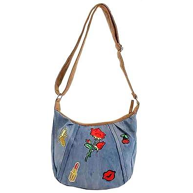 68b889fb4 Bluebags Bandolera vaquera con emojis, Women's Messenger Bag, Blue (Jeans)
