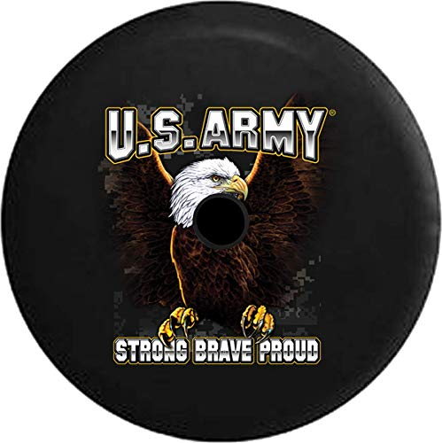 JL Series Jeep Spare Tire Cover with Backup Camera Hole US Army American Eagle Digital Camo Proud Military Black 32 ()