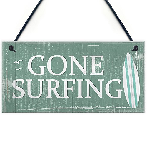 Gone Surfing Hanging Plaque Nautical Decor Beach Seaside Shabby Chic Home Sign Gift (Nautical Surfing Sign Gone)