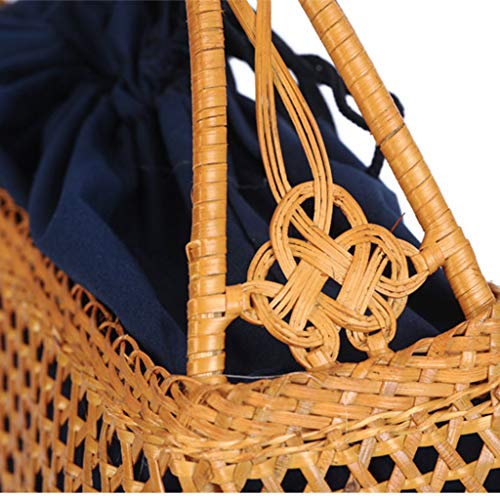 Women's Bag, Handbag - Rattan Woven Bag - Tea Ceremony Zero with Shopping Basket - Tea Set Storage Bag - Daily Retro Handbag by BHM (Image #5)