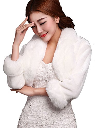 Insun Women's Faux Fox Fur Bolero Jacket Wedding Coat Winter Wrap Shawl Ivory