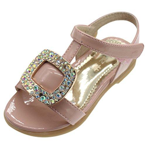 Oasap Girl's Open Toe Rhinestone Velcro Low Heels Sandals, Pink 29