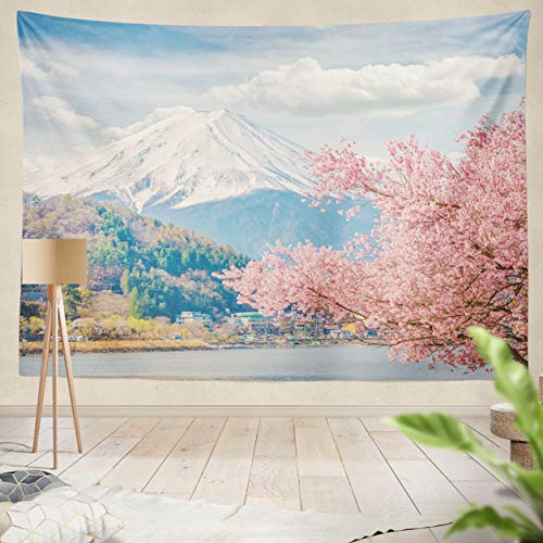 ASOCO Tapestry Wall Handing Mountain Fuji in Spring at Japan Cherry Blossom Sakura Wall Tapestry for Bedroom Living Room Tablecloth Dorm 60X80 Inches ()
