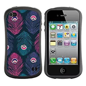 LASTONE PHONE CASE / Suave Silicona Caso Carcasa de Caucho Funda para Apple Iphone 4 / 4S / Peacock Teal Pink Purple