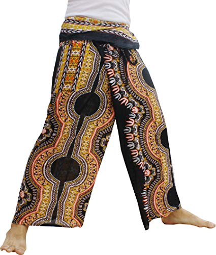 Raan Pah Muang Fisherman Pants Wrap Waist Super Baggy Comfortable Rayon Print, X-Large, Dashiki A Black Yellow