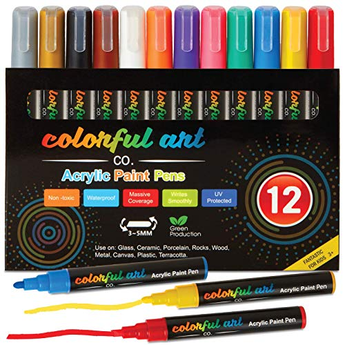Paint Pens - 12 Premium Acrylic Paint Pens, Rock Painting Kit for Painting Rocks, Pebbles, Glass, Ceramic, Wood, Porcelain Permanent Water Based Waterproof Paint Marker Pens with 3-5mm Reversible Tip
