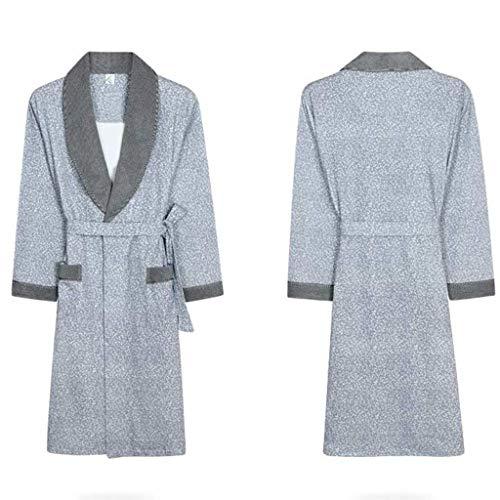 PLLP Pijamas cómodos para el hogar Tienda de algodón con Bolsillos Albornoz - Mangas largas Hombres Primavera y Verano...