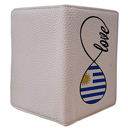 [OxyCase] Designer Light Weight PU Leather Passport Holder Cover/Case - Infinity Love Uruguay Flag Design Printed Cute Travel Wallet for Girls/Women