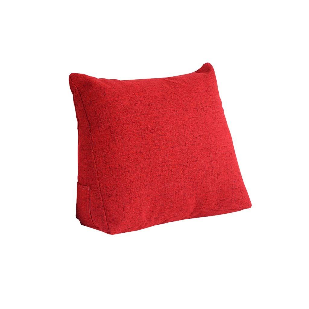DUHUI Bettkeil, Keil für Wohn- und Schlafzimmer, Schlafkeil, zur Linderung der Wirbelsäule , Stillkissen fürs Liegen und Sitzen, 45x40x18cm (Farbe : ROT)
