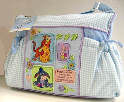 Baby Pooh Diaper Bag - Disney Winnie the Pooh Baby Blue Gingham Diaper Bag