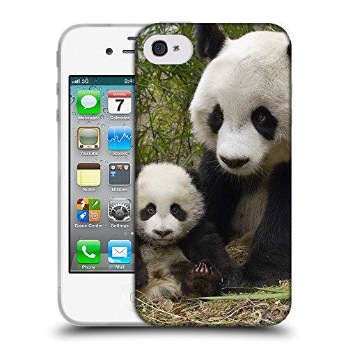 Just Phone Cases Coque de Protection TPU Silicone Case pour // V00004109 ours panda mignon avec cub // Apple iPhone 4 4S 4G