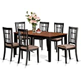East West Furniture NICO7-BLK-C 7-Piece Dining Room Table Set, Black/Cherry Finish, Microfiber Upholstered Seat For Sale