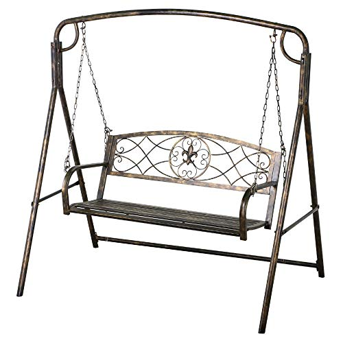 (Lapha' Rustic Countryside Swing Chair Bench 2 Seat Iron & Hanging Porch Swing Frame Patio Chain Line Hanging Porch Garden Play Yard)