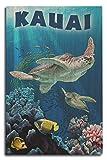 Kauai, Hawaii - Sea Turtle Swimming (10x15 Wood Wall Sign, Wall Decor Ready to Hang)