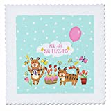 3dRose Uta Naumann Sayings and Typography - Cute Baby Wild Animals Typography On Blue Polkadots -You Are Loved - 20x20 inch quilt square (qs_275540_8)