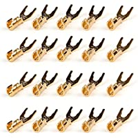 Areyourshop 20 Pcs Copper Speaker Cable Spade Connector Terminal Plug Gold Plated